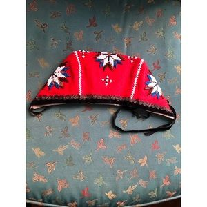 Vintage Accessories - Vintage Beaded star & cross embroidery bonnet